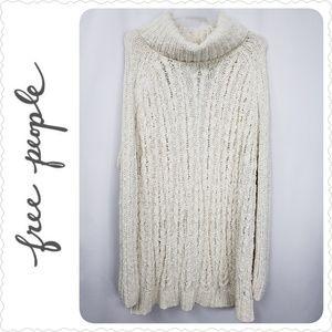 Free People Ivory Crochet Sweater Open Back Medium